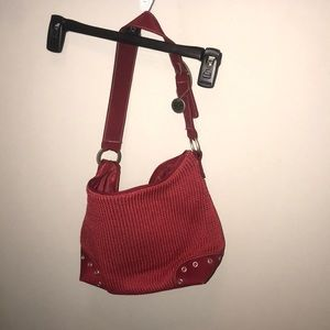 Red classic crochet purse